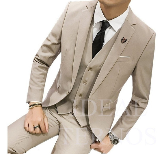 Terno Slim Masculino Oxford Cinza Italiano ( Ideal Ternos )