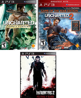 Uncharted 1 + Uncharted 2 + Infamous Festival Of Blood Ps3