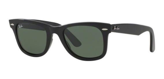 Oculos Sol Ray Ban Wayfarer Rb2140 901 54mm Preto Brilho G15