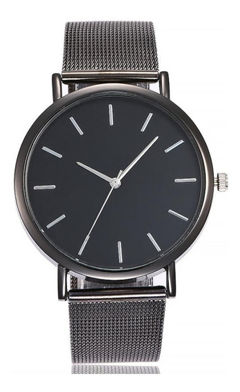 Relógio Masculino Pulseira Em Aço Inox Grafite E Preto