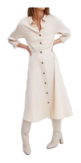 Vestido Z.a.r. Camisero Crema Talle M