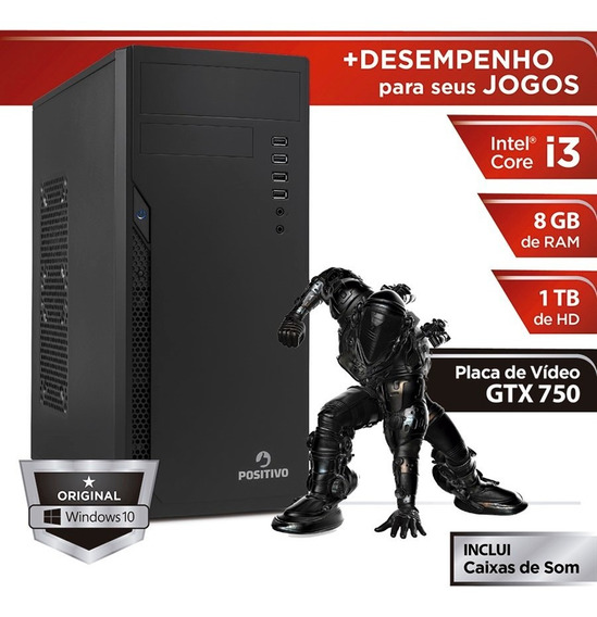 Desktop Positivo Station I3 8gb 1tb Geforce Gtx 750 W10 Pro