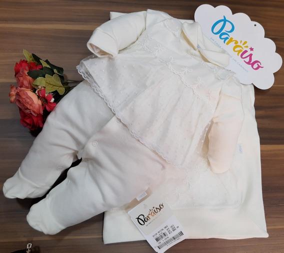 Saida Maternidade Luxo Paraiso Bebê Menina Suedini Macacao Enxoval Batizado Ref 9066