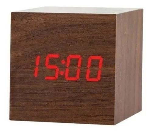 Relógio Led Clock Madeira Vermelho - Ledclockmarrom