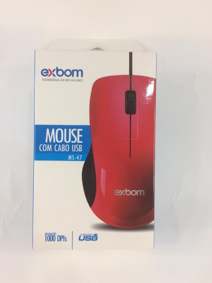 Mouse Com Fio Exbom Ms47 Barato Usb P/pc Computador Notebook