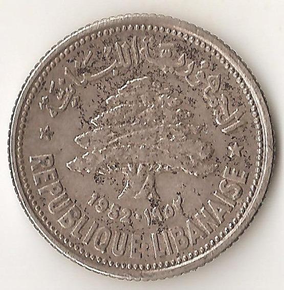 Libano, 50 Piastres, 1952. Plata. Casi Sin Circular