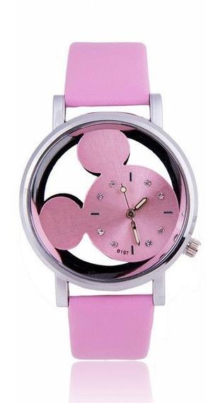Relógio De Pulso Mickey Mouse Disney Rosa Azul Preto Branco