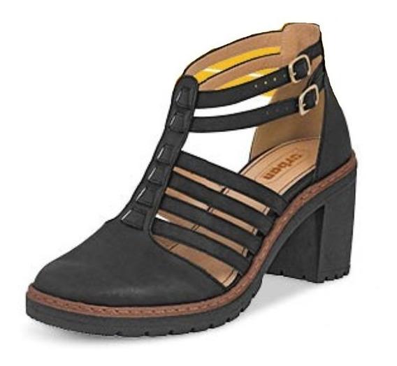 Calzado Zapato Dama Mujer Negro Tacón 8 Cm Cómodo Suave