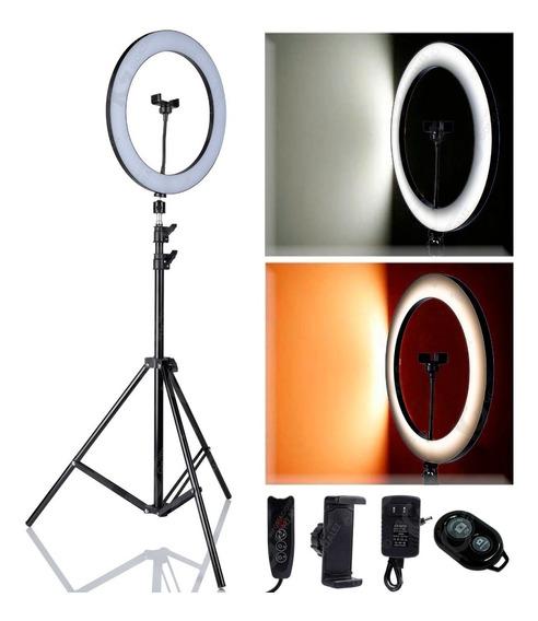 Lámpara De Aro Para Maquillaje Video Foto Profesional Con Base Porta Celular Incluye Tripie + Selfie