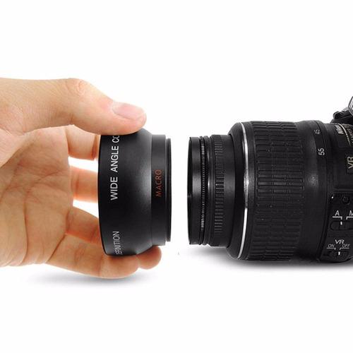 Imagem 1 de 9 de Lente Grande Angular Hd 0.45x 52mm + Macro Uv 62mm