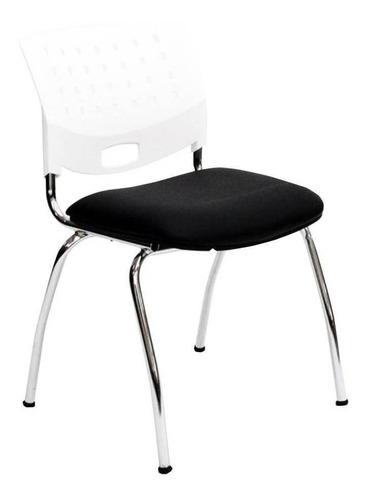 Silla de escritorio JMI Greta Fija Cromada  blanca y negra con tapizado de cuero sintético