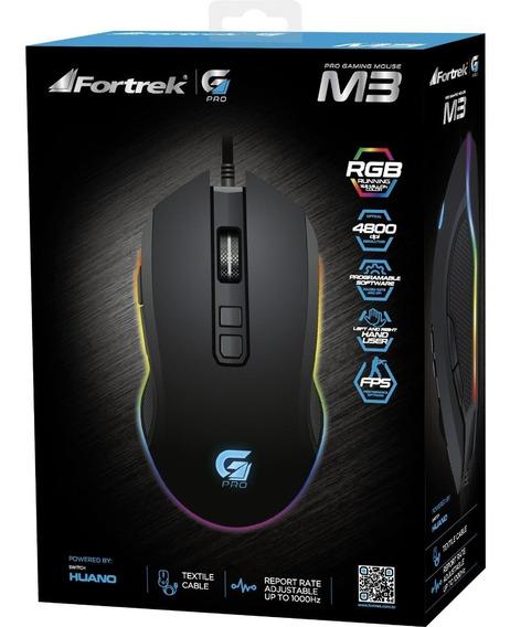 Mouse Gamer Pro M3 Rgb Preto Fortrek Original