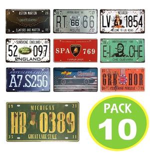 10 Placas Metalicas Vintage Retro 30x15 Decorativas Cuadros