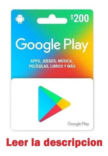 Tarjeta Google Play 200 Envio Full