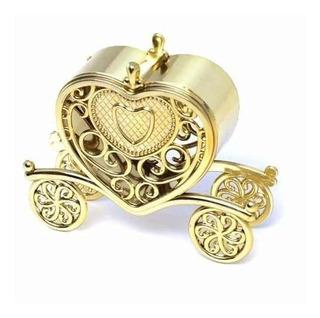6 Carruagens De Coração Acrílico Dourada