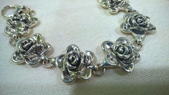 Pulsera De Plata De Ley Con Diseño De Rosas