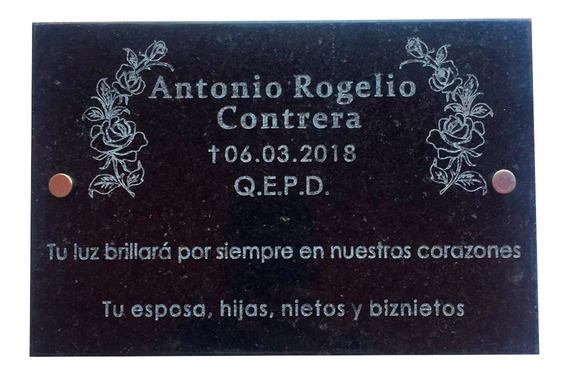 Placa De Mármol Blanco O Negro. Grabada. 40x20cm.
