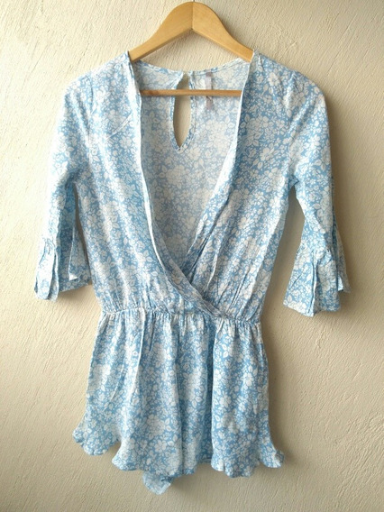 Jumpsuit Floral Azul Con Blanco Talla Ch