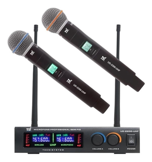 Microfone Tsi Duplo De Mão Ud 2200 Uhf Profissional Oferta