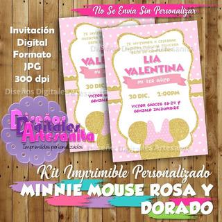 Minnie Rosado Con Dorado Recuerdos Cotillón Y Fiestas En