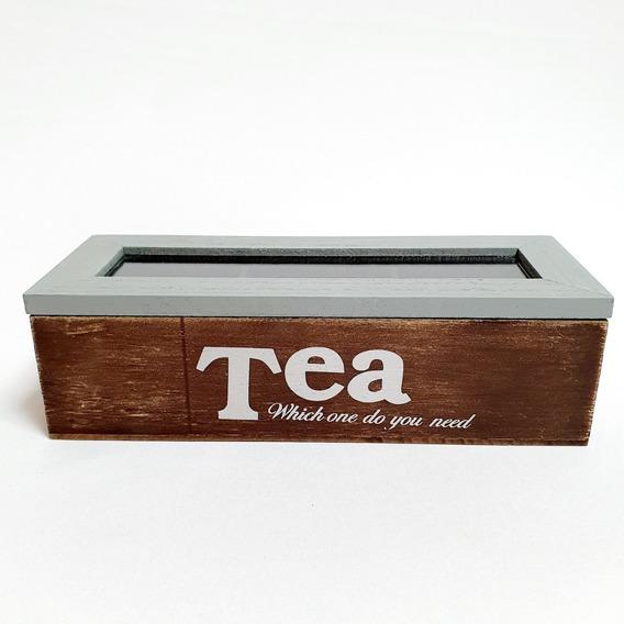 Caja De Te De Madera Rustica Organizador De Saquitos X 3