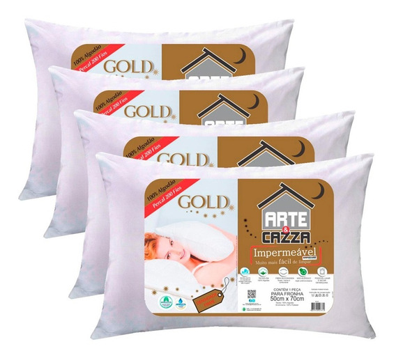 Kit 4 Travesseiros Arte E Cazza Gold Algodão 200 Fios Impermeável