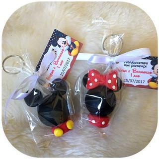 Kit C/ 30 Lembrancinhas Mickey/minnie Chaveiro Biscuit C/tag