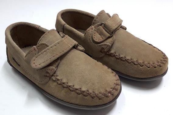 Zapatos Niños Nauticos Gamuza Con Abrojo 21 Al 26 Korek 274