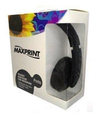 Fone De Ouvido Headset Maxcolor Com Microfone - Preto **