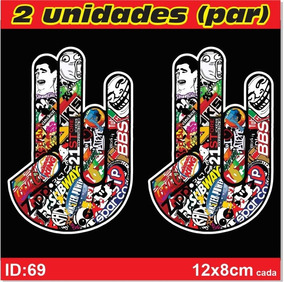 Par De Adesivos Mãozinha Shocker Stickerbomb Carros - Imp69