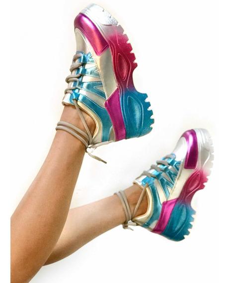 Tênis Chunky Dad Sneaker Colorido Holográfico Metalizado