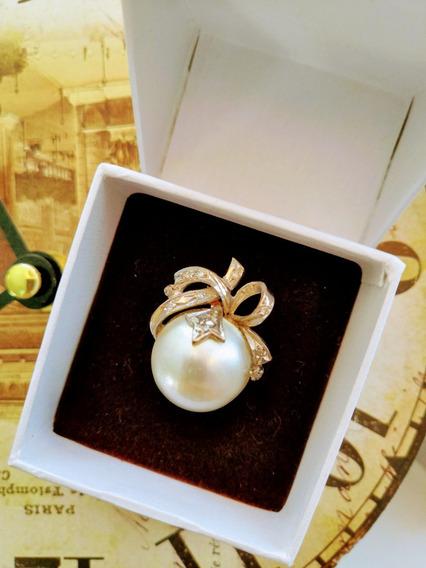 Anillo Antiguo Perla Mabe, Paladio Y Diamantes