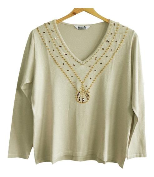 Sweater Beige Bordado Canutillos Lentejuelas (impecable) #sw