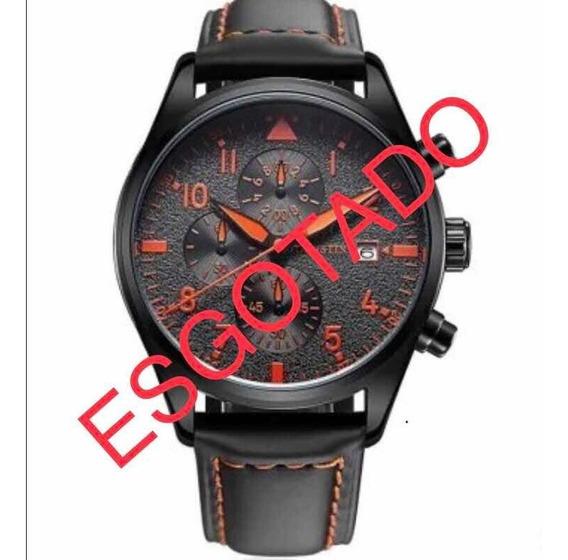 Relógio Masculino Ochstin Couro Cronógrafo Funcional