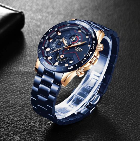 Relógio Pulso Luxo Adulto Masculino Azul Lige + Frete Grátis