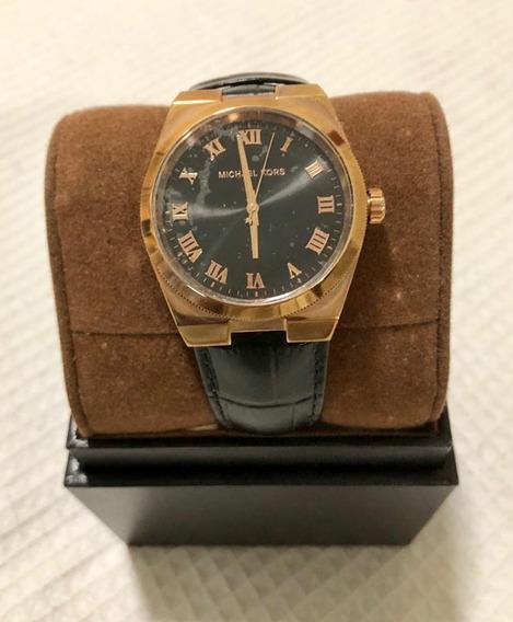 Relógio Michael Kors Mk Fem 35mm Com Pulseira Couro Preto
