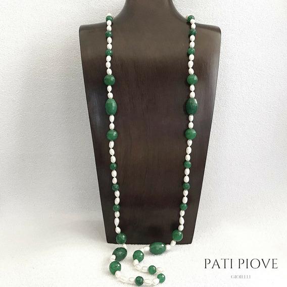 Colar Pedra Pérola Jade Verde Natural Longo Folheado Ouro 94