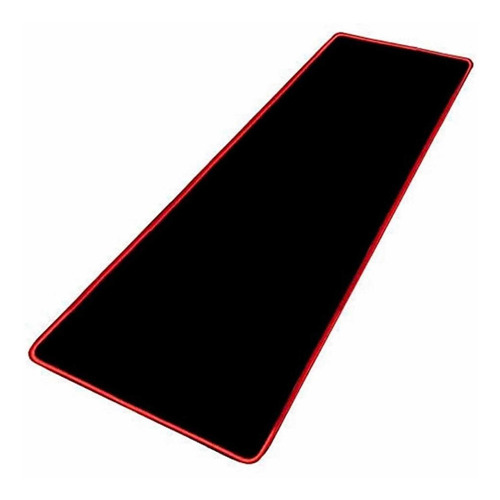 Mouse Pads Gamer Negro Borde Rojo 70 X 30cm Multiproposito
