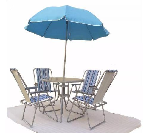 Set De Jardín Mesa + 4 Sillas + Sombrilla - Exterior