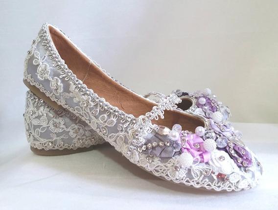 Bellos Zapatos Flats Quinceañera Dama Niña De Las Flores