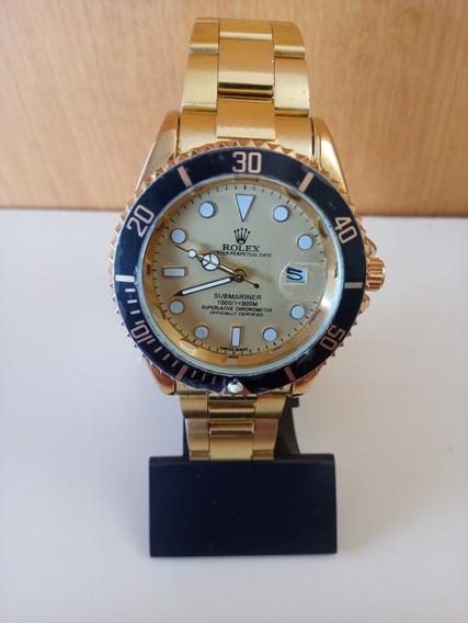 Relógio Submariner Dourado Fundo Amarelo Unissex Novo