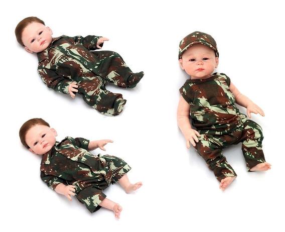 Kit Militar Com 5 Peças Para Bebê Menino