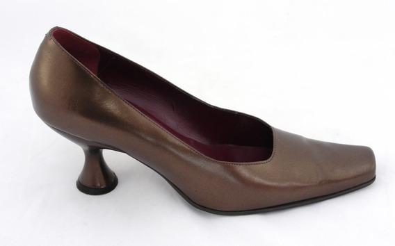 Zapatos Piel Color Cobre, Punta Nine West