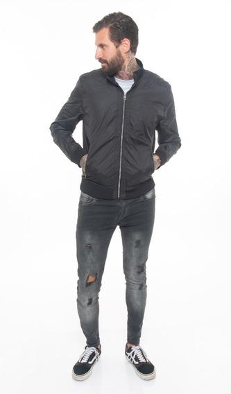 Campera Rompeviento Importada Liso Negro #50017