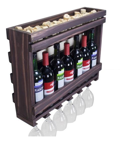 Adega De Madeira Prateleira E Porta Taças Para Vinho Bebidas