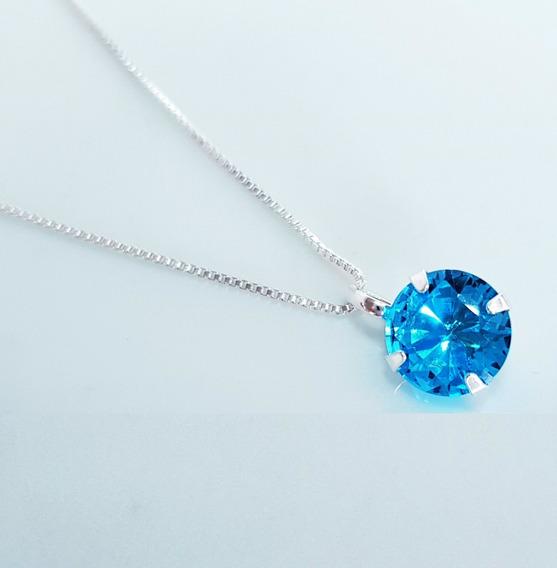 Corrente Colar Feminino Azul Topazio Prata De Lei 925