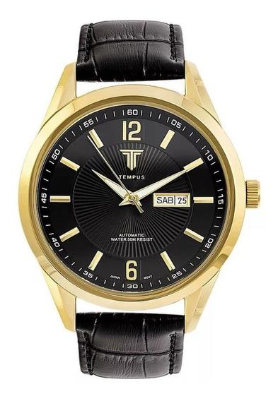 Relógio Masculino Tempus Elite Zw20136p Gold Black
