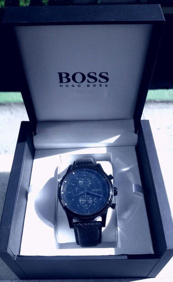 Hugo Boss Leather Strap Chronograph Watch Black One Size