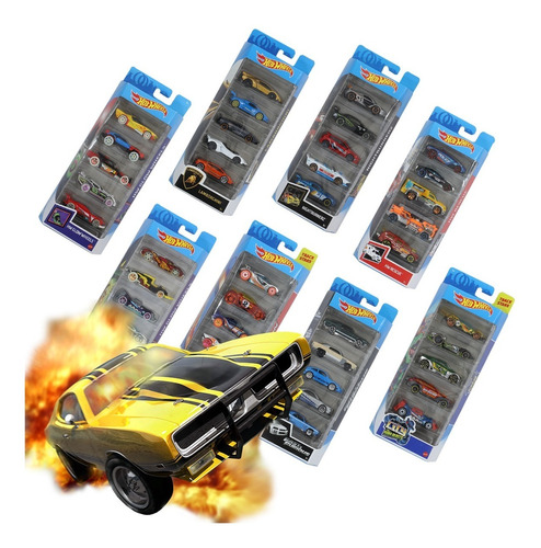 Hot Wheels Paquete 5 Carros Autos Coleccion Pista Mattel