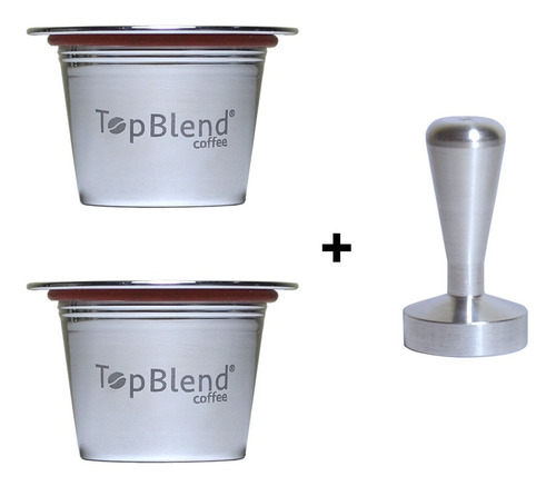 Imagem 1 de 6 de 2 Cápsulas Reutilizáveis Nespresso Topblend + Tamper + Frete